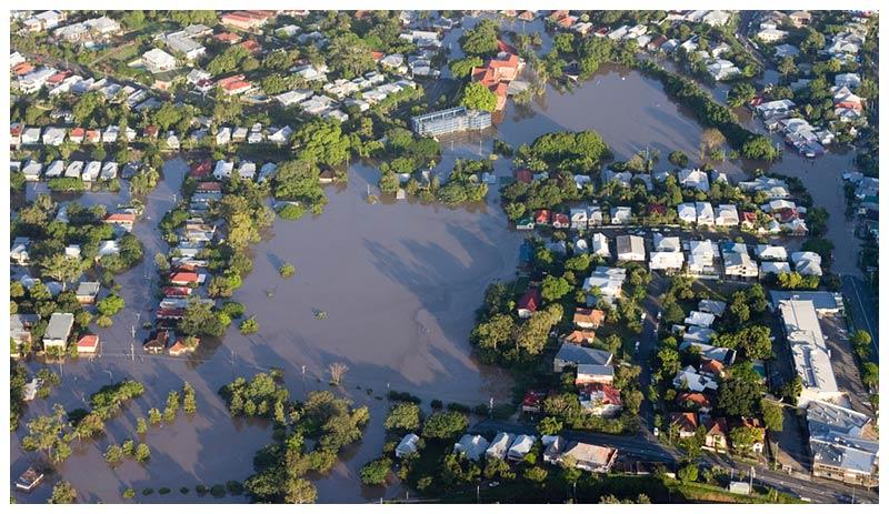 neighborhood flooded after a rain storm