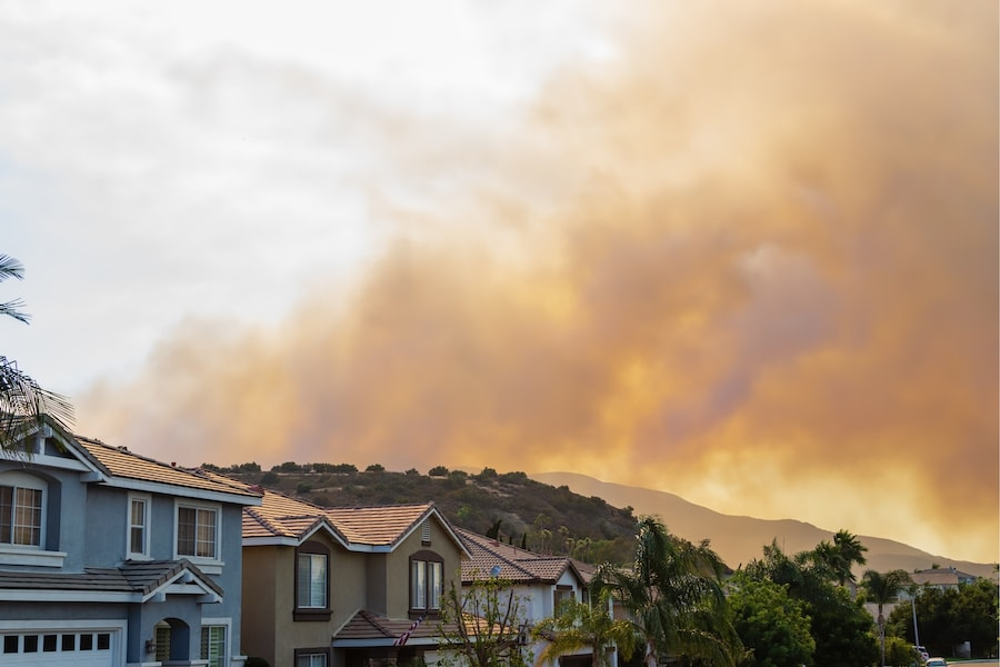 Fire raging in the hills above Corona, CA, coming dangerously close to homes.