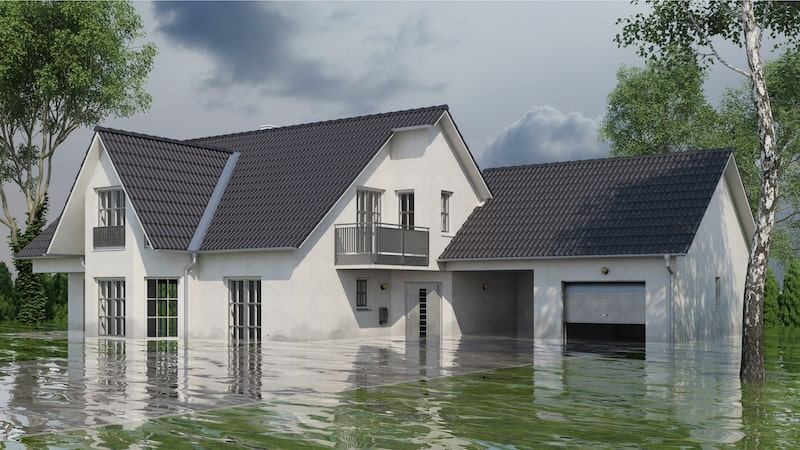 Exterior of a flooded house.